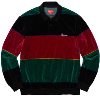 Supreme - supreme Stripe velour L/S polo