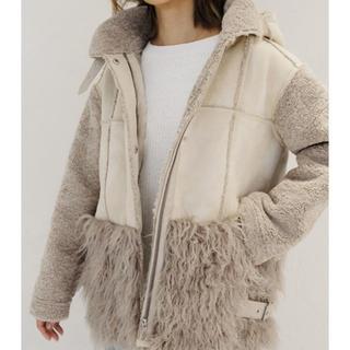 アリシアスタン(ALEXIA STAM)のBoa Fleece Hooded Flight Jacket Greige(毛皮/ファーコート)