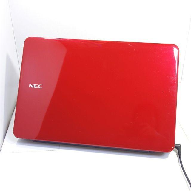 NEC(エヌイーシー)の【きれいなレッド☆】SSD搭載で軽快動作∩´∀`)∩/ノートパソコン/Win10 スマホ/家電/カメラのPC/タブレット(ノートPC)の商品写真