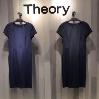 セオリー(theory)の theory TAILORシリーズ 半袖ワンピース ネイビー サイズ2(ひざ丈ワンピース)