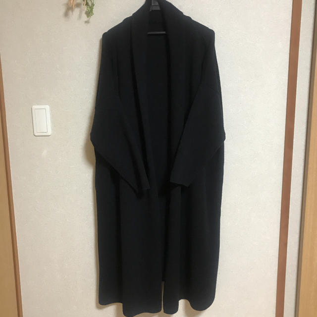 DEUXIEME CLASSE(ドゥーズィエムクラス)のドゥーズィエムクラス 18AW スムースニット ガウンコート ブラック レディースのジャケット/アウター(ニットコート)の商品写真