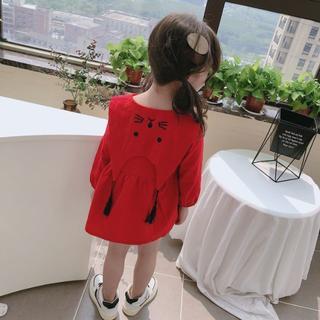 【100/120/130】ワンピース 襟うさぎ レッド 女の子 ドレス 秋冬 (ワンピース)