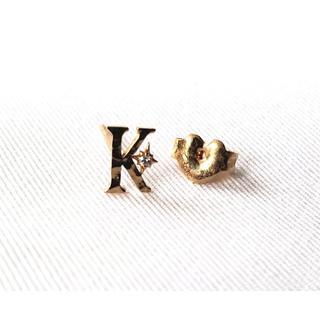スタージュエリー(STAR JEWELRY)の美品 K18 スタージュエリー イニシャル ピアス K ダイヤモンド(ピアス)