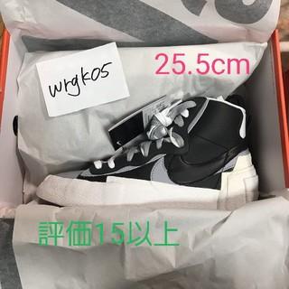 ナイキ(NIKE)のnike sacai blazer 25.5 ブラック(スニーカー)