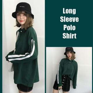 緑 グリーン L 長袖 ポロシャツ 袖ライン tシャツ レディース メンズ(ポロシャツ)