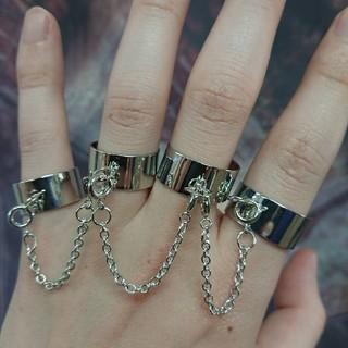 四連 シルバー フリーサイズ 指輪(リング(指輪))