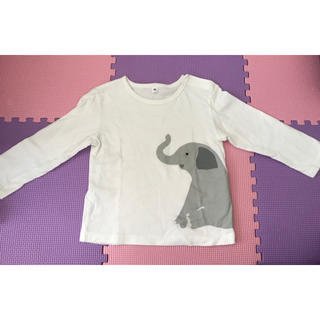 MUJI (無印良品) - 無印良品 長袖Tシャツ ぞう サイズ90