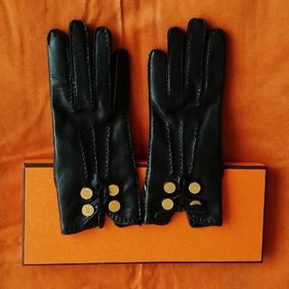 エルメス(Hermes)のエルメス 革手袋 レザーグローブ 黒 セリエ(手袋)