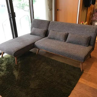 ウニコ(unico)のunico ROY ウニコ ロイ ソファ 長椅子 セット 2.5人 ブラウン (三人掛けソファ)