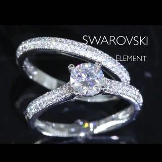 スワロフスキー ジェム パヴェセッティング 指輪 2点セットK18GP(リング(指輪))