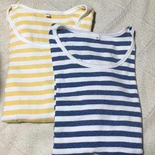 MUJI (無印良品) - 無印良品 オーガニックコットンボーダーTシャツ 2枚セット
