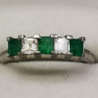 プラチナ900 ダイヤ、エメラルドリング(リング(指輪))