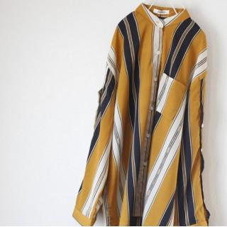 【即日発送】 イエロー 大きいサイズ ストライプ柄 バンドカラー ポリシャツ(シャツ/ブラウス(長袖/七分))
