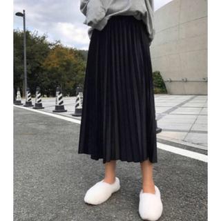 ブラック プリーツスカート 起毛素材(ロングスカート)