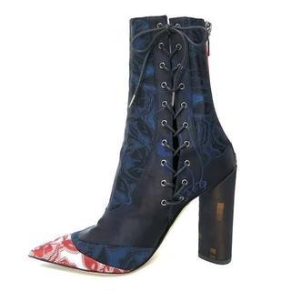 クリスチャンディオール(Christian Dior)のChristian Dior サイドレースアップ バックジップ ミドル ブーツ(ブーツ)