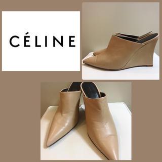 celine - CELINE ベージュレザー ミュール