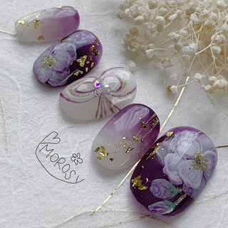 MOROSY172☆和装 和 成人式 振袖 紫 パープル 牡丹 ネイルチップ