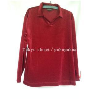 サンタモニカ(Santa Monica)のmen's メンズ 古着 コーデュロイ 真紅 紅 ワインレッド ベロア シャツ(シャツ/ブラウス(長袖/七分))