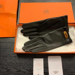 エルメス(Hermes)の新品¥13万品★エルメス★ 手袋 グローブ ブラック ラムスキン 箱/完品(手袋)