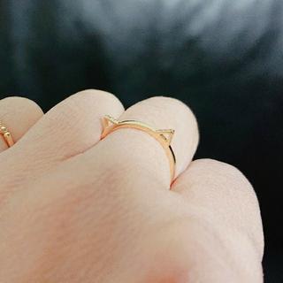 アーカー リング 指輪 ダイヤ キトゥン 猫 9号 K10YG(リング(指輪))