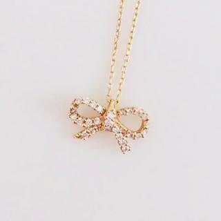 スタージュエリー(STAR JEWELRY)の♡美品♡スタージュエリー  K18 PG ダイヤ ネックレス リボンモチーフ(ネックレス)