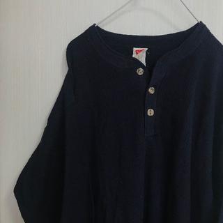 ヘインズ(Hanes)のアメリカ古着!サーマル セーター ニット Hanes Tシャツ 長袖 XL 青(Tシャツ/カットソー(七分/長袖))