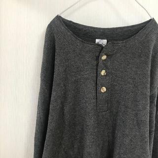 ヘインズ(Hanes)のアメリカ古着!サーマル セーター ニット ヘインズ Tシャツ XL 長袖 グレー(Tシャツ/カットソー(七分/長袖))