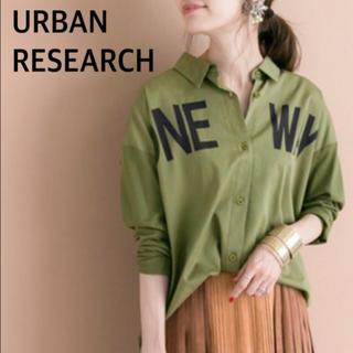 URBAN RESEARCH - URBAN RESEARCH ロゴプリンミリタリーシャツ カーキ