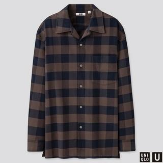 UNIQLO - ユニクロユールメールワイドフィットフランネルチェックシャツ L ネイビー