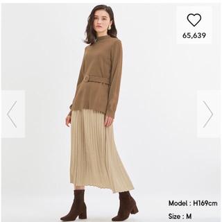 GU - GU プリーツスカート ロングスカート ベージュ