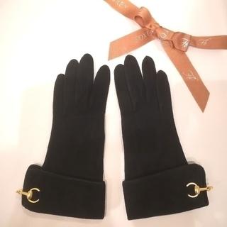 フォクシー(FOXEY)のFOXEY フォクシー ♡ スエード レザー グローブ 本皮 手袋 黒 (手袋)