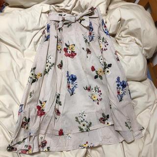 花柄 ストライプ ウエストリボンマークスカート(ひざ丈スカート)