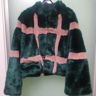 fur fur - FURFUR チェック柄エコファーコート
