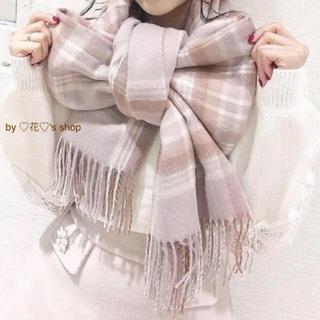 エブリン(evelyn)のピンク♡身につけるだけで可愛いチェックストール♡リボンに結んだり♡羽織ったり♡(ストール/パシュミナ)