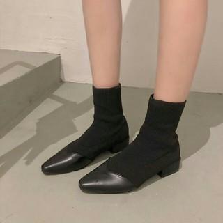 美脚  欧米 ファッション 新作  流行 ソックスブーツ  ブラック    (ブーツ)