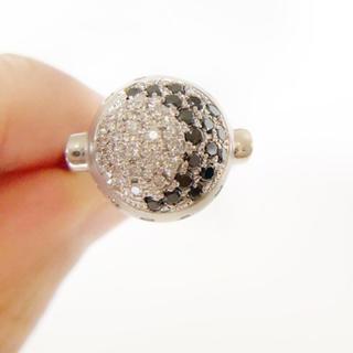 ボーナスセール!未使用 Pt900 ブラックダイヤモンド×天然ダイヤリング(リング(指輪))