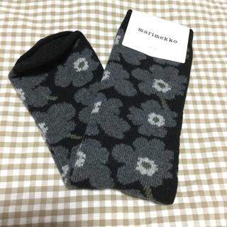 marimekko - マリメッコ☆ウニッコ靴下*黒ウール