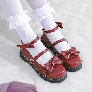 新作 可愛 森ガール系  リボン   ロリータ    靴 レッド