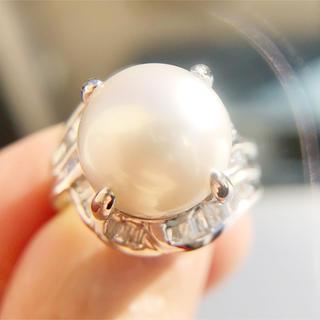 ボーナスセール!【使用】大粒 12㎜ 白蝶真珠 南洋 ダイヤモンドリング(リング(指輪))