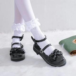 新作 可愛 森ガール系  リボン   ロリータ    靴 ブラック