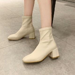 新作 ファッション  スクエアアンクルブーツ 革靴  アイボリー(ブーツ)