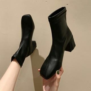 新作 ファッション  スクエアアンクルブーツ 革靴ブラック (ブーツ)