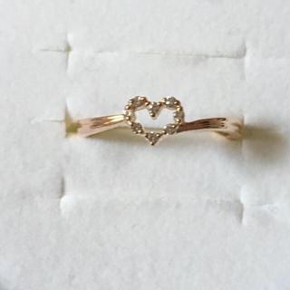 ヨンドシー(4℃)の美品❤️ 4℃ K10PG ハートダイヤリング ❤️#8(リング(指輪))