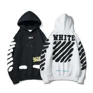 オフホワイト(OFF-WHITE)の2枚12000円送料込み 男女兼用 パーカー  长袖 美品(パーカー)