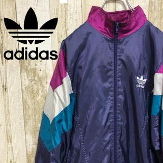 アディダス(adidas)の【レア】アディダス ナイロンジャケット パープル 90s(ナイロンジャケット)