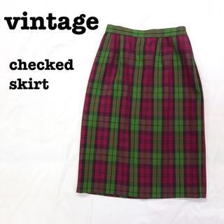 ロキエ(Lochie)の美品【 vintage 】 チェックスカート ウールスカート ロングスカート(ロングスカート)