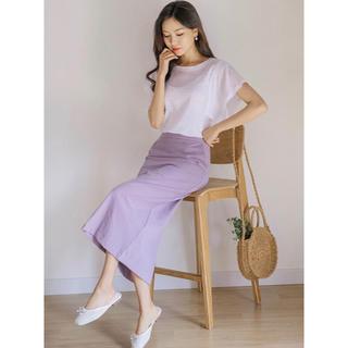 ディーホリック(dholic)のdholic リネンコットンHラインスカート 紫 ラベンダー タイトスカート(ロングスカート)