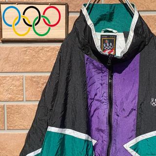 【超オススメ!!】90s USAオリンピック ナイロンジャケット トリコロール(ナイロンジャケット)