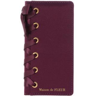 メゾンドフルール(Maison de FLEUR)の【新品】メゾンドフルール iPhoneケース 手帳型 レースアップ リボン(iPhoneケース)