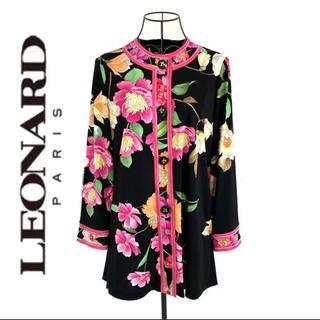 LEONARD - LEONARD レオナール 花柄 ノーカラージャケット レディース 黒 ブラック